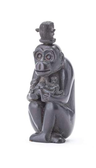"""CHINESE CARVED BOX WOOD SNUFF BOTTLE """"MONKEY"""" 19TH.C."""