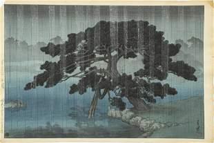 """KAWASE HASUI, WOODBLOCK PRINT H 10"""" W 15"""" RAIN, TREE AT"""