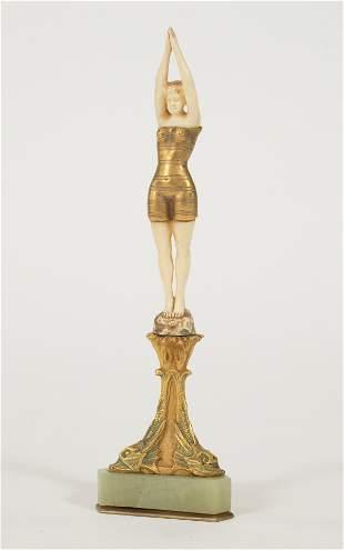 AUSTRIAN ART DECO PERIOD BRONZE SCULPTURE, C 1920 H