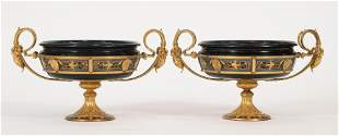 FRENCH MARBLE & CHAMPLEVE BRONZE TAZZAS, 19TH.C.