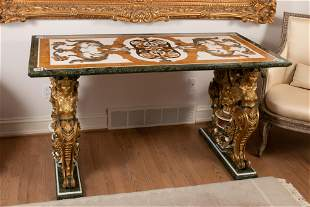 FLORINTINE PIETRA DURA TABLE TOP SUPPORTED ON A RELIEF
