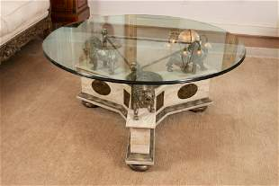 """MAITLAND SMITH GLASS TOP, """"LIONS"""" ON MARBLE BASE TABLE,"""