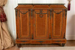 FRENCH LOUIS XV STYLE ORMOLU FRUITWOOD & MARBLE