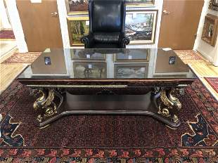 """CARVED MAHOGANY LIBRARY TABLE. C 1920, H 31"""", W 71"""", D"""