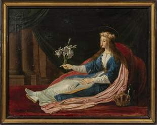"""OIL ON CANVAS MOUNTED TO MASONITE, 19TH C, H 25.5"""", W"""