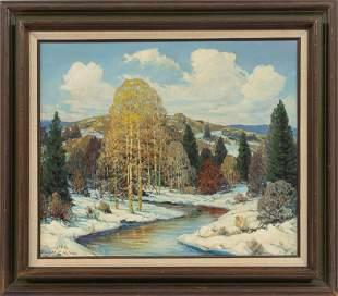 DWIGHT CLAY HOLMES (AMERICAN, 1900-1986) OIL ON BOARD,