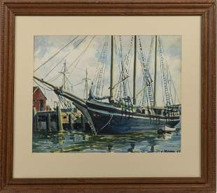 """E. BROWNING, WATERCOLOR ON PAPER, 1958, H 15"""", W 20"""","""