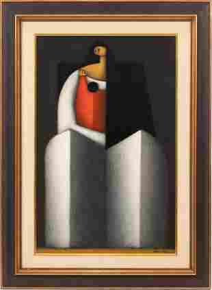 JESUS MARIANO LEUUS (MEXICAN, B. 1948) OIL ON MASONITE,