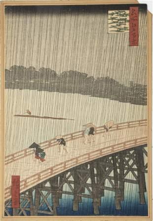 "HIROSHIGE II, WOODBLOCK ON PAPER C 1840 H 10"" W 7"""