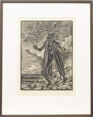 """JACOB """"YAACOV"""" PINS (GERMAN, 1917-2005) WOODBLOCK PRINT"""