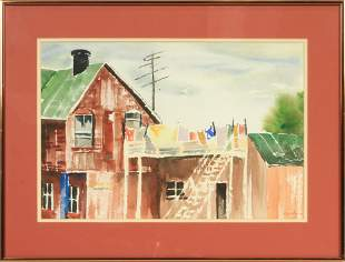 """RAWLINS, WATERCOLOR ON PAPER, H 14"""", W 20"""", CITY SCENE"""