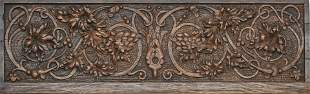 """CARVED OAK WALL PLAQUE, H 8"""", L 28.5"""""""