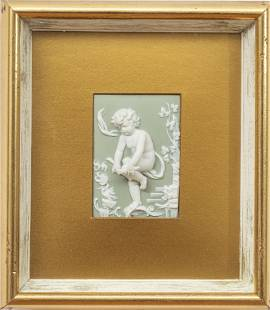 """BISQUE PLAQUES, FRAMED SET OF 4 H 12"""" W 8"""" CHERUBS IN"""