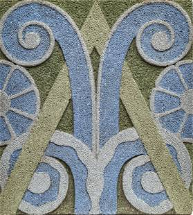 """CONCRETE SLAB, ABSTRACT MOSAIC DESIGN IN RELIEF H 23"""" W"""