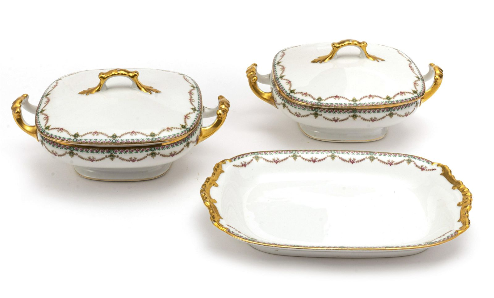 LIMOGES FRENCH VIGNAUD SERVING DISHES C. 1930 3 PCS