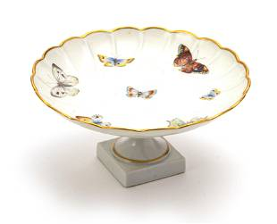 """LIMOGES FRENCH SCALLOP EDGE PORCLELAIN COMPOTE H 4"""" DIA"""