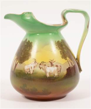"""ROYAL BAYREUTH TAPESTRY PITCHER, GOATS C 1900 H 7.2"""" W"""