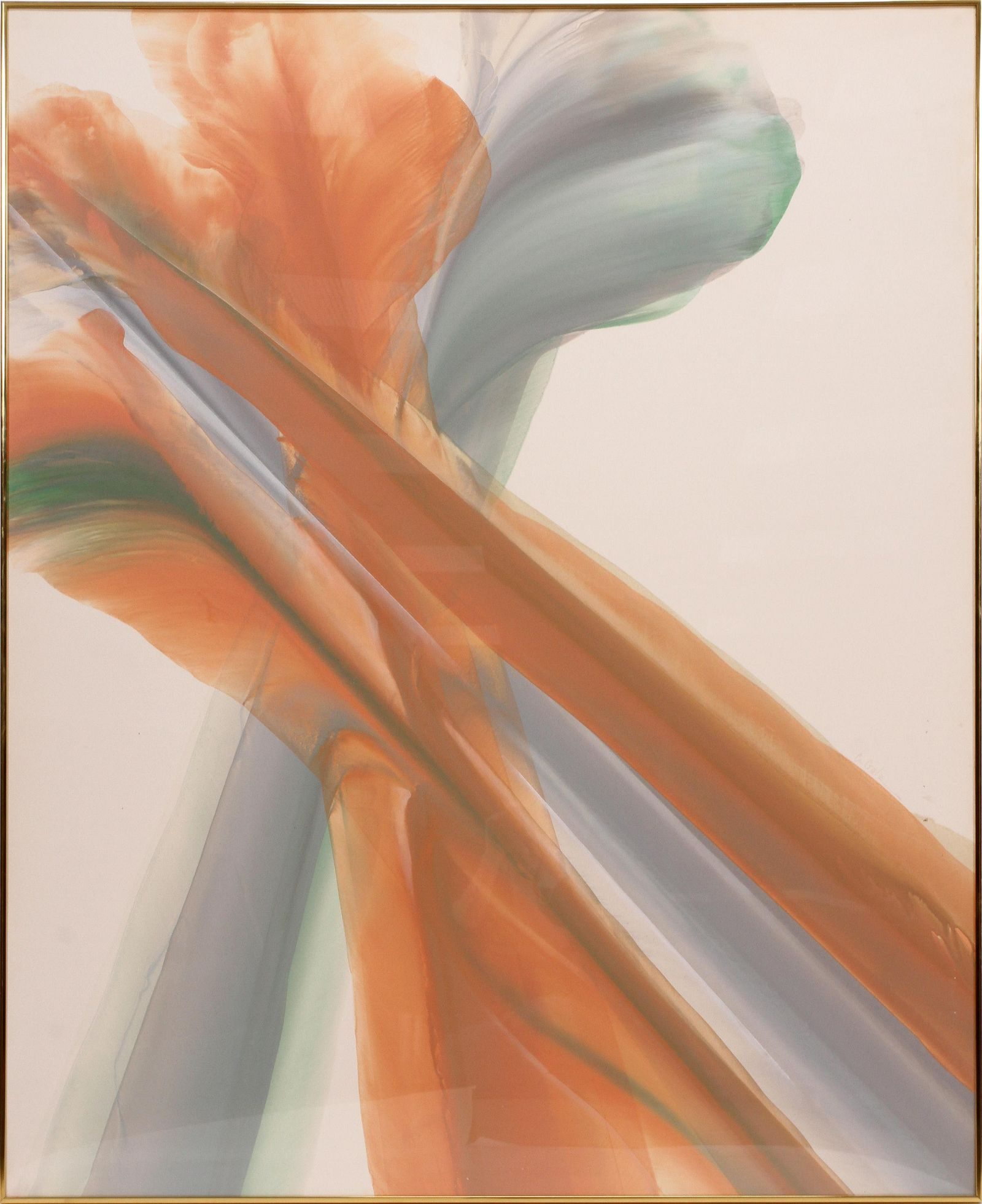 """C. GALE, ACRYLIC C. 1985 H 60"""" W 48"""" ABSTRACT IN ORANGE"""