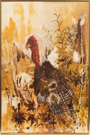 """DON SCHROM, WATERCOLOR AND GOUACHE C 1960, H 29"""" W 19"""""""
