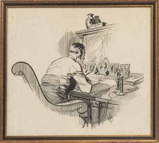 CARL WILLIAMS, INK & CHARCOAL ON PAPER, C. 1920, H