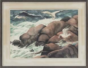 "AL LE NORMAND, WATERCOLOR ON PAPER, C. 1960, H 17.25"","