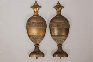 """FRENCH BRONZE URN FORM MOUNTS, 19TH.C. PAIR, H 14.5"""", W"""