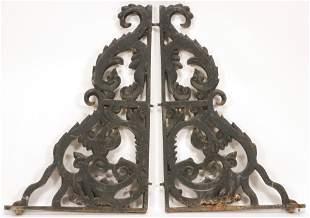 "CAST IRON BRACKETS, C 1860 PAIR H 34"" W 20"""