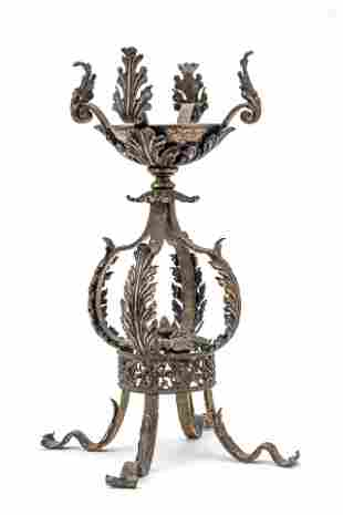 """WROUGHT IRON STAND C. 1900 H 21"""" W 12"""""""