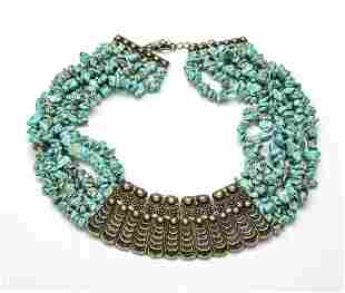 EGYPTIAN INFLUENCE 7 STAND TURQUOISE & METAL NECKLACE L