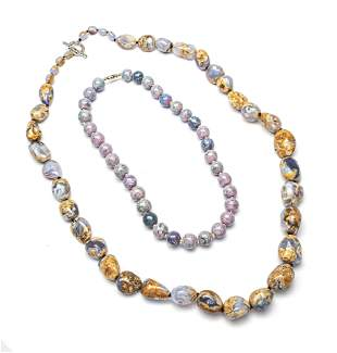 """INDIA OPALESCENT STONE NECKLACE AND ONE OTHER 2 L 32"""","""