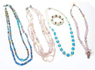 """PINK 3 STRAND CRYSTAL NECKLACE & 3 OTHERS L 28"""",28"""","""