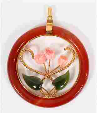 """CHINESE CORAL, SERPENTINE AND AGATE PENDANT, H 2 1/2"""","""