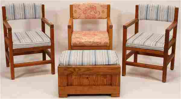 """CHERRY ARM CHAIRS AND PINE OTTOMAN, H 35"""" W 21"""""""