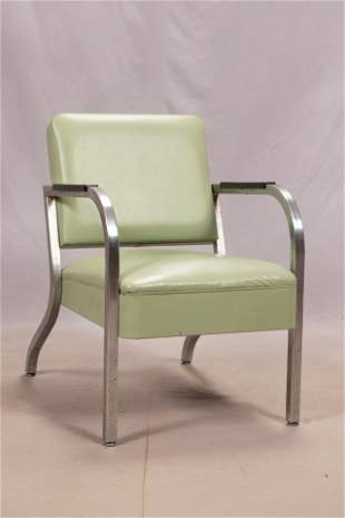 VINTAGE PALE GREEN LEATHER CHAIR, CHROME FRAME