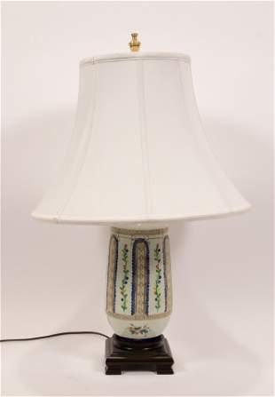 "PAINTED PORCELAIN TABLE LAMP, H 28"", DIA 18"""