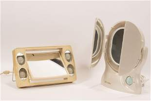 VANITY MAGNIFYING MIRRORS, TWO