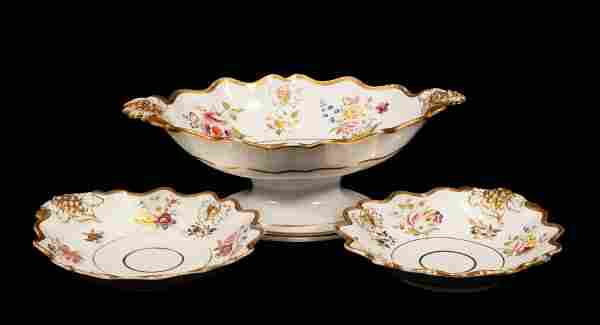 RIDGWAY THREE PIECE GARNITURE SET: COMPOTE, TWO DISHES