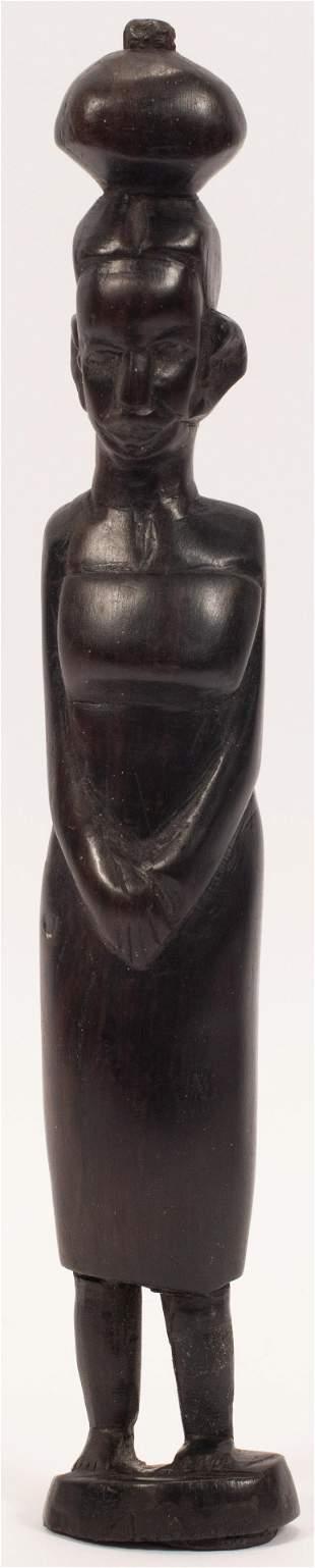 AFRICAN TRIBAL ART CARVED EBONY FIGURE CARRYING BUNDLE