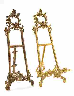 """BRASS TABLE EASELS, TWO H 21"""" W 9"""""""