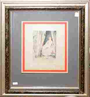 """JOHANNES, HAND-COLORED ENGRAVING, W 7 1/2"""" X 5 1/4"""","""