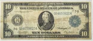 U.S. $10.DOLLAR LG.PAPER CURRENCY FED-RESERVE, JACKSON