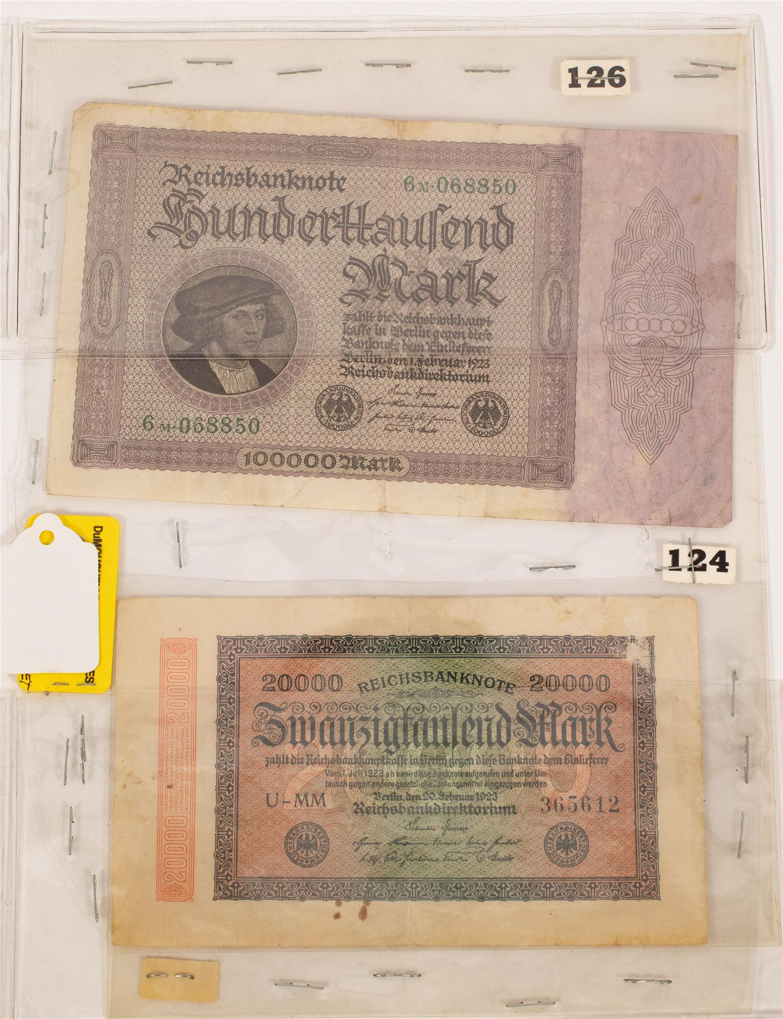 GERMAN PAPER CURRENCY NOTES 20,000. MARK, #3365612