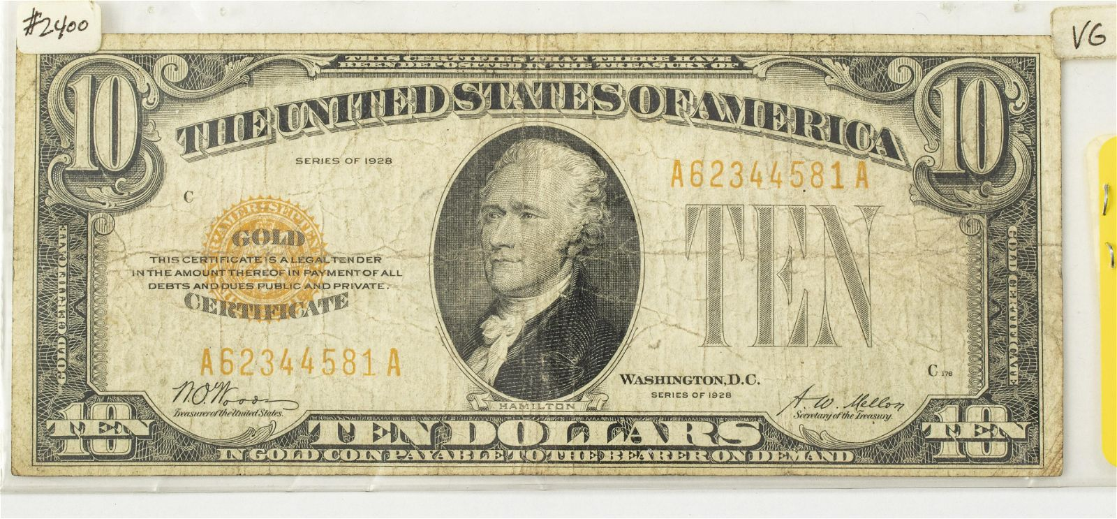 $10.DOLLAR GOLD CERTIFICATE PAPER CURRENCY HAMILTON