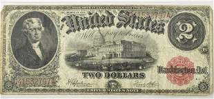 "U.S. $2.DOLLAR RED SEAL 1917 ACTUAL SIZE H.3"" X 7.4"""