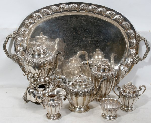 040001: MEXICAN STERLING TEA & COFFEE SET W/TRAY, SEVEN