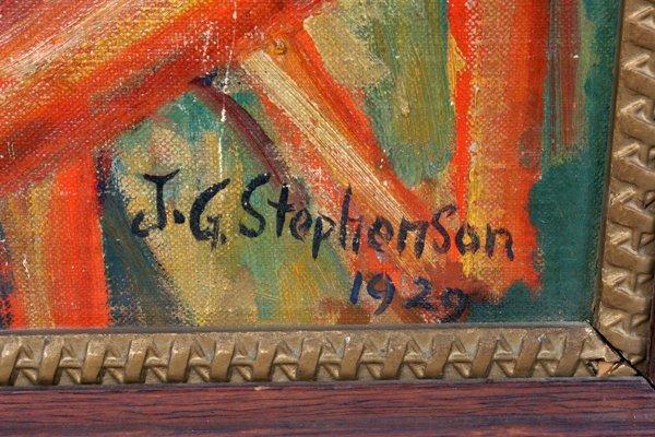 040006: J.G. STEPHENSON OIL ON CANVAS, COWBOY  SCENE,  - 2