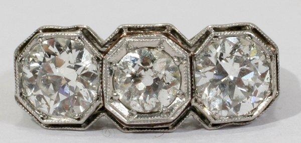 040019: EUROPEAN CUT DIAMOND AND PLATINUM RING