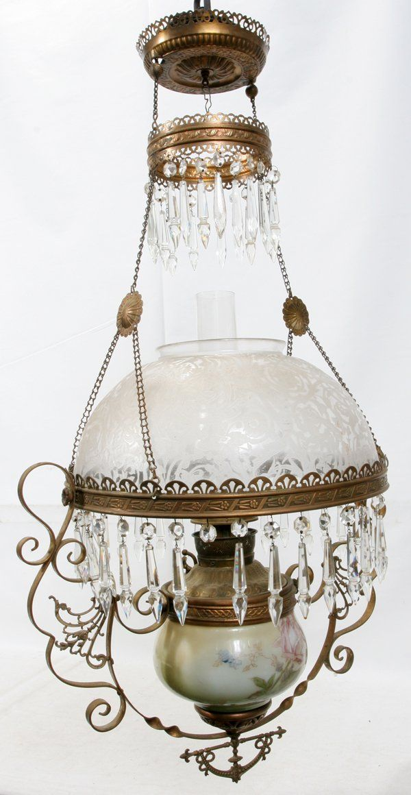 VICTORIAN GLASS & BRASS HANGING OIL LAMP 19TH C