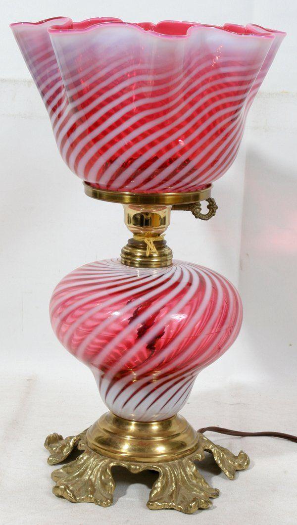 "CRANBERRY OPALESCENT SWIRL OIL LAMP, H 15 1/2"","