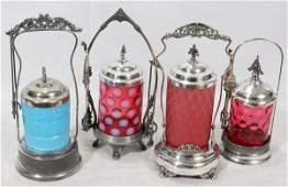 040301 VICTORIAN SILVERPLATE  GLASS PICKLE CASTERS